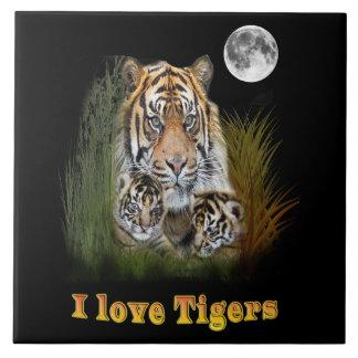 tigre et petits animaux grand carreau carré