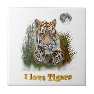 tigre et petits animaux petit carreau carré