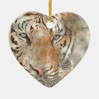 Tigre étroit dans l'aquarelle ornement cœur en céramique