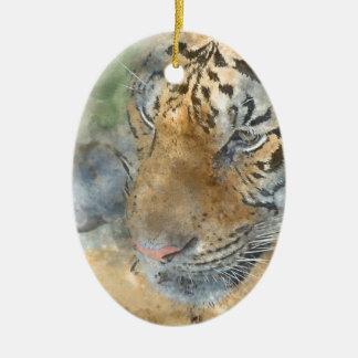 Tigre étroit dans l'aquarelle ornement ovale en céramique