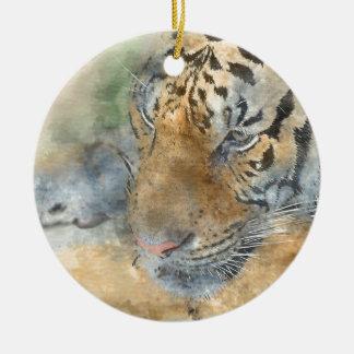 Tigre étroit dans l'aquarelle ornement rond en céramique