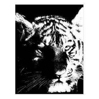 Tigre noir et blanc d'art de bruit carte postale