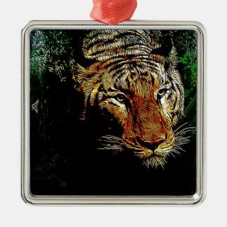 tigre sauvage animal de safari prédateur de faune ornement carré argenté