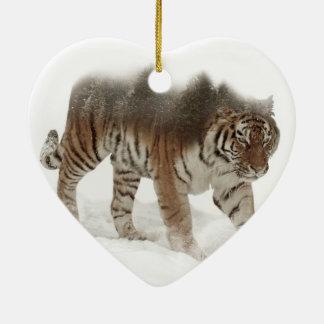 Tigre-Tigre-double exposition-faune sibérienne Ornement Cœur En Céramique
