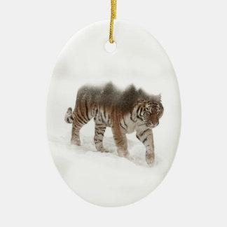 Tigre-Tigre-double exposition-faune sibérienne Ornement Ovale En Céramique