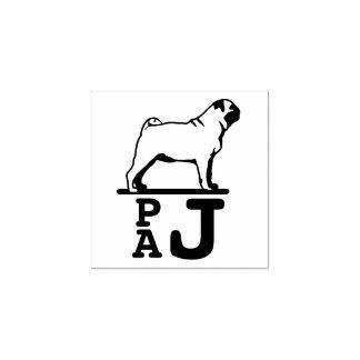 Timbre de monogramme de chien de carlin