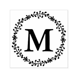 Timbre floral de monogramme de guirlande tampon auto-encreur