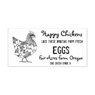 Timbre heureux de carton d'oeufs de poulets