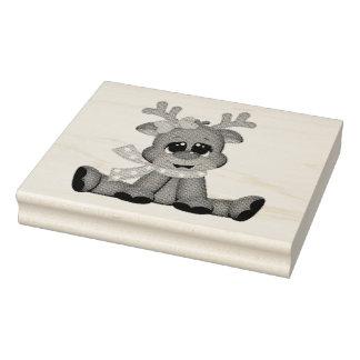 Timbres en bois d'art/bébé Rudolph