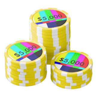 Tisonnier de la vieille école TV jouant les puces Rouleau De Jetons De Poker