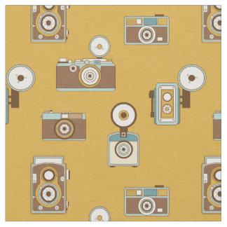 Tissu Appareils-photo vintages sur l'arrière - plan d'or