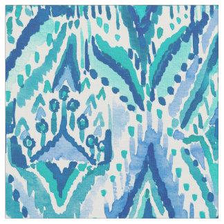 Tissu Aquarelle bleu vert de tribal de frange d'Ikat