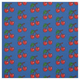Tissu Cerises sur le bleu