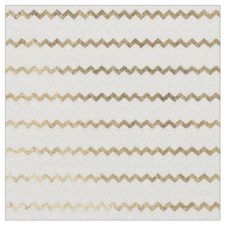 Tissu Chevron géométrique moderne blanc d'or chic de