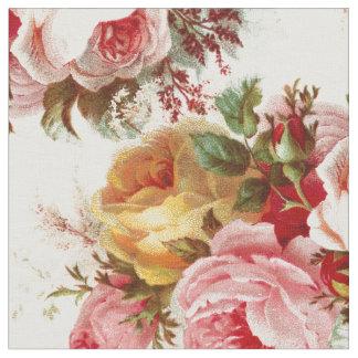 Tissu chic minable vintage de motif de rose