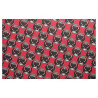 Tissu Coeurs rouges et cercles noirs