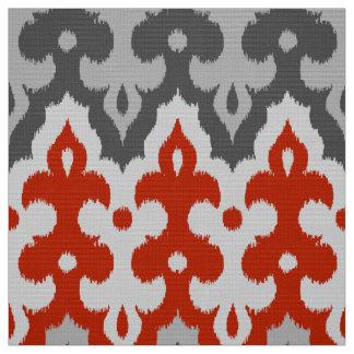 Tissu Damassé d'Ikat de Marocain, gris de graphite et