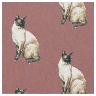 Tissu d'art de chat siamois