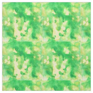 Tissu de coton de Pima d'aquarelle de vert jaune