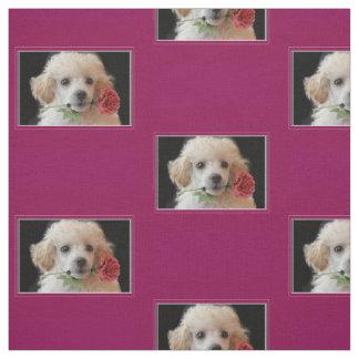 Tissu de motif de chien de caniche de Valentines