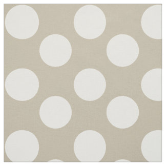 Tissu de Taupe et blanc grand de polka de point