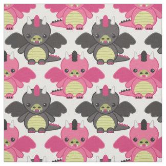 Tissu Dragons de bébé - motif de rose et de noir