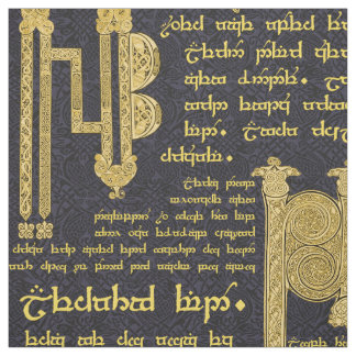 Tissu Échantillonneur celtique en noir et or