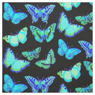 Tissu éffrayant de mite de papillon de noir bleu