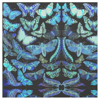 Tissu éffrayant de noir bleu de mites de papillons