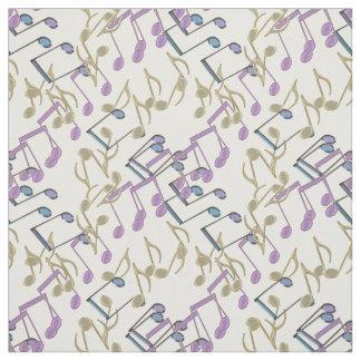 Tissu en pastel de motif de notes de musique de