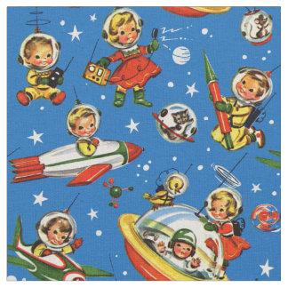 Tissu enfants des années 1950 dans l'espace - UFOs et
