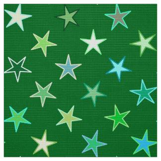 Tissu Étoiles de scintillement, émeraude et vert de