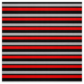 Tissu fait sur commande noir et argenté rouge rayé