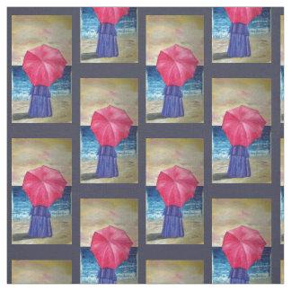 Tissu Fille avec le parapluie rose - thème de plage