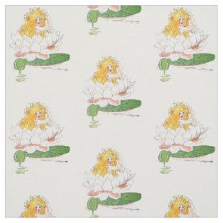 Tissu Fille drôle florale mignonne d'enfant de fleur de