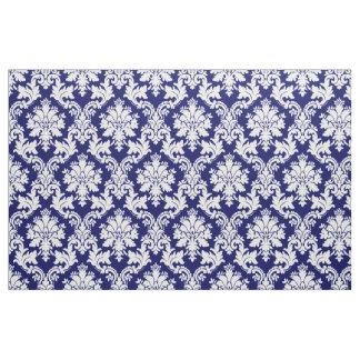 Tissu floral de damassé de marine blanche élégante