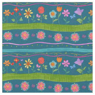 Tissu floral de rayure onduleuse
