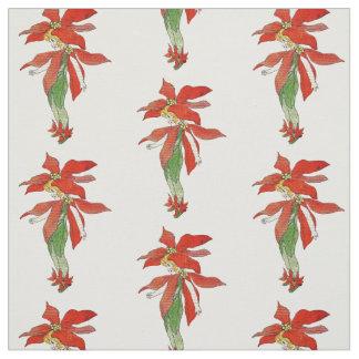 Tissu floral d'enfant de fleur de Noël de