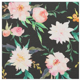 Tissu floral élégant de blanc de noir de rose