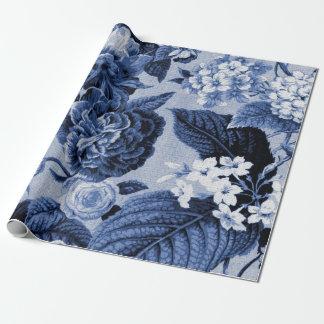 Tissu floral vintage No.1 de Toile de bleu Papier Cadeau