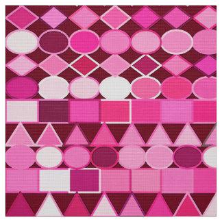 Tissu Géométrique tribal moderne, Bourgogne et rose