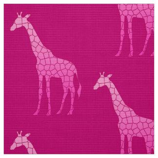 Tissu Girafe géométrique moderne, fuchsia et rose-clair