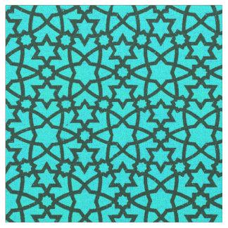 Tissu Grands bleu d'arabesque et noir