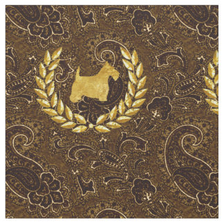 Tissu Guirlande Brown riche Paisley de Scottie d'or