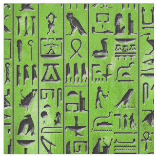 Tissu Hiéroglyphes dans l'émeraude
