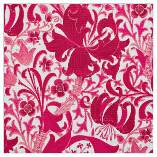 Tissu Iris de William Morris et lis, rose de fuchsia