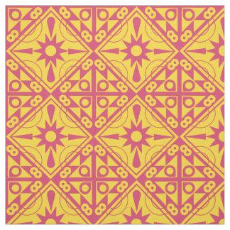 Tissu Jaune et rose géométriques