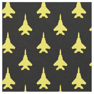 Tissu Jaune sur le motif noir d'avion de chasse d'Eagle