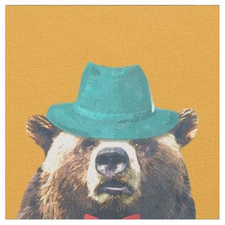 Tissu L'aquarelle animale drôle et mignonne d'ours