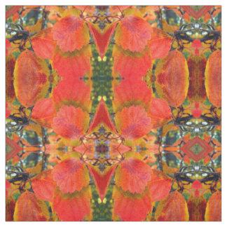 Tissu L'automne rouge laisse le coton peigné par coutume